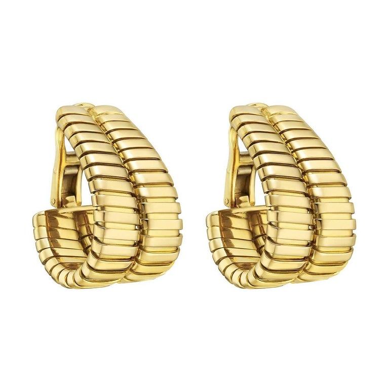"Bulgari Yellow Gold ""Tubogas"" Double Hoop Earrings"