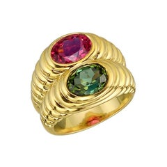 Bulgari Pink Tourmaline and Peridot Double Ring