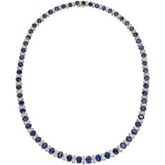 Oscar Heyman Sapphire and Diamond Line Necklace