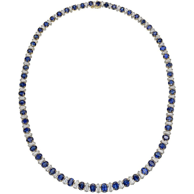 Oscar Heyman Sapphire and Diamond Line Necklace
