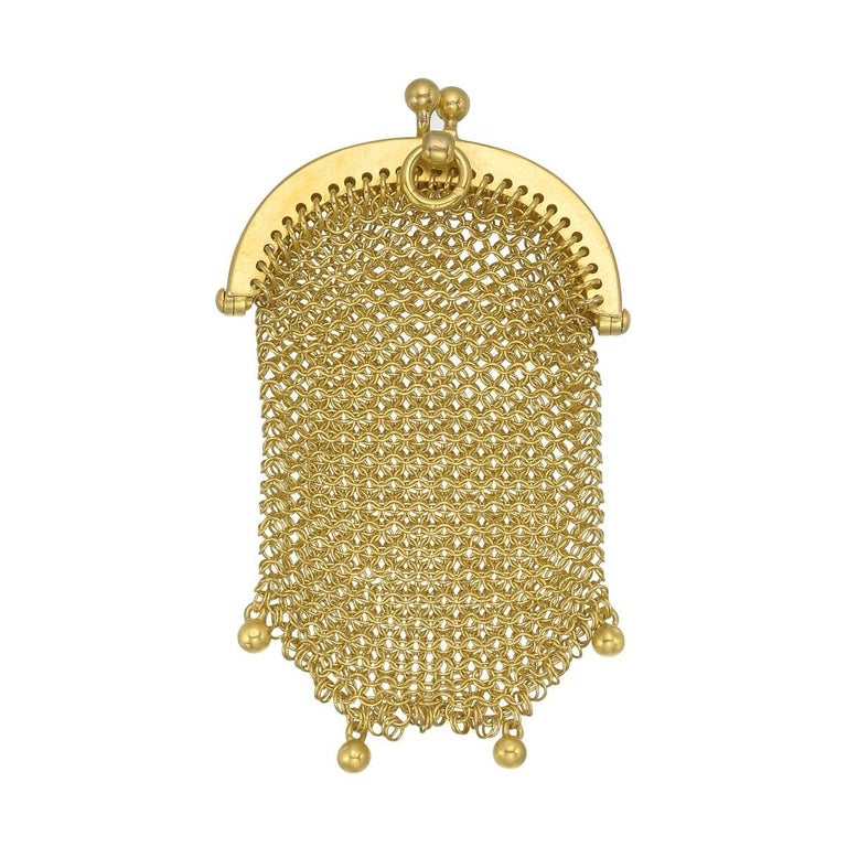 French Yellow Gold Mesh Purse Pendant