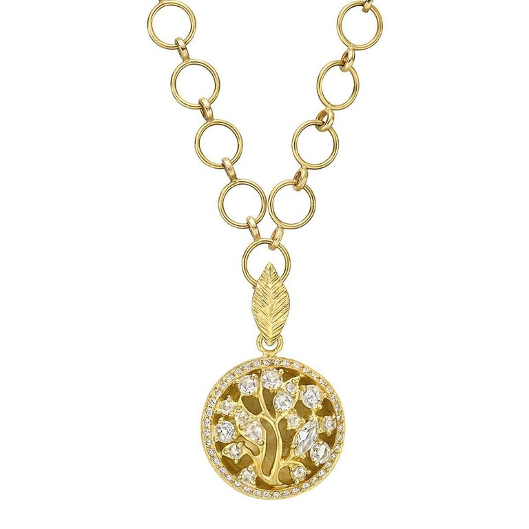 Anthony Nak Yellow Gold Diamond Circular Tree Pendant