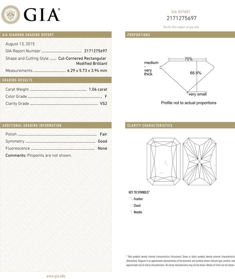 Diamond engagement ring, centering a colorless radiant-cut diamond weighing 1.06 carats (F-color, VS2-clarity), with partway bead-set round-cut diamond band profile and basket, in platinum. Accompanied by the GIA lab certificate for the radiant-cut