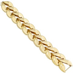 Yellow Gold Herringbone Link Bracelet