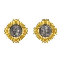 Elizabeth Locke Yellow Gold Silver Coin Earrings