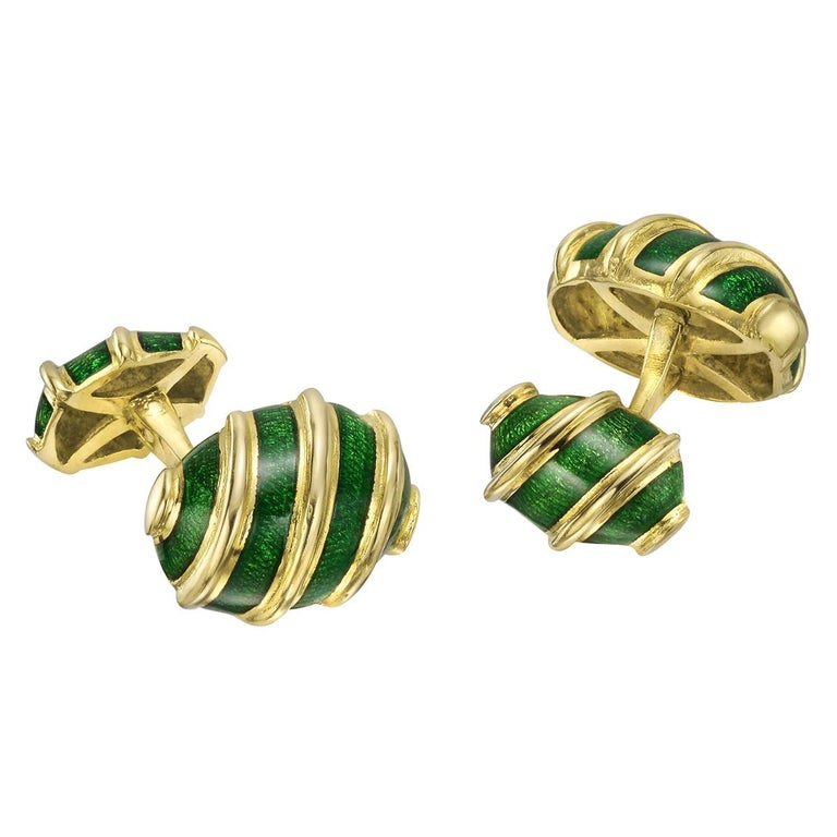 "Tiffany & Co. Schlumberger Gold Enamel ""Olive"" Cufflinks"