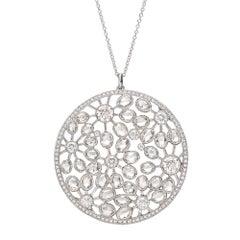 Tiffany & Co. Large Diamond Foliate Pendant Necklace
