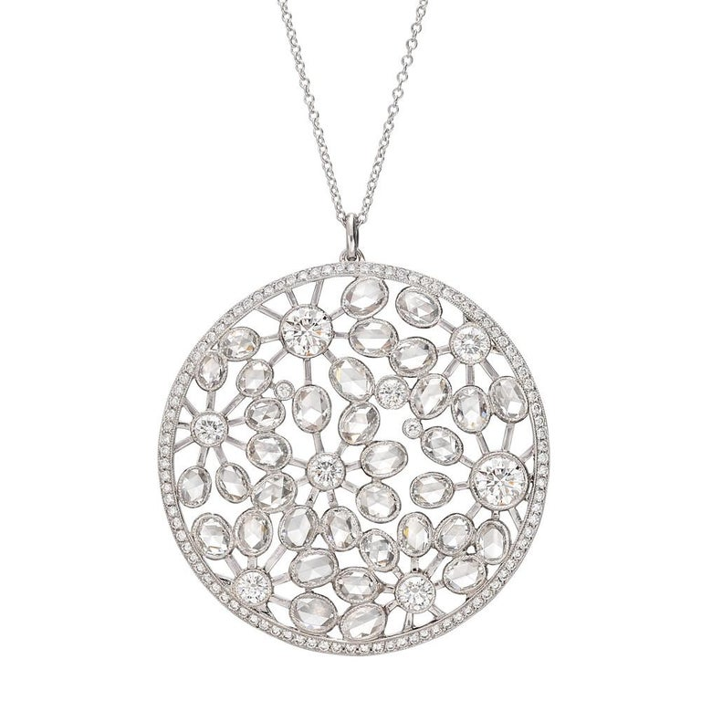 Tiffany & Co. Large Diamond Foliate Pendant Necklace