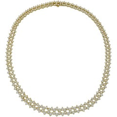 Graduated Round-Cut Diamond Link Necklace '8.28 Carat'
