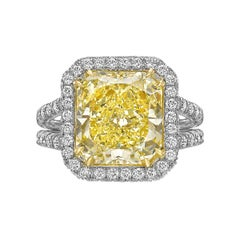 Fancy Intense Yellow Diamond Halo Ring