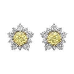 Fancy Intense Yellow White Diamond Cluster Earrings