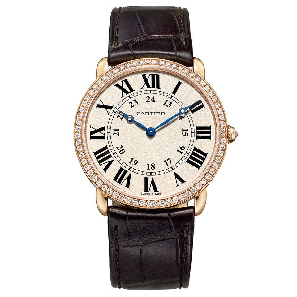 Cartier Rose Gold Ronde Louis Cartier Diamond Wristwatch ...