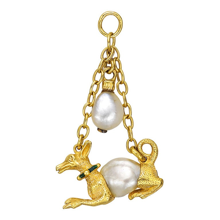 Antique Enamel Natural Pearl Gold Hound Pendant 1