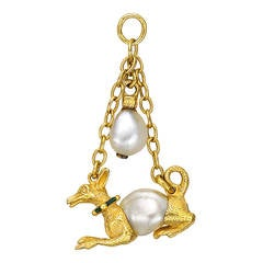 Antique Enamel Natural Pearl Gold Hound Pendant