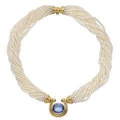 Bulgari Multistrand Pearl Sapphire Gold Necklace