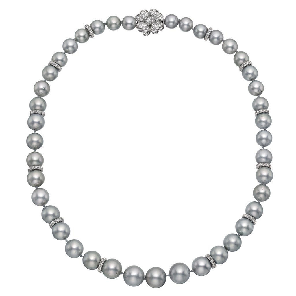 Gray Pearl Diamond Gold Necklace