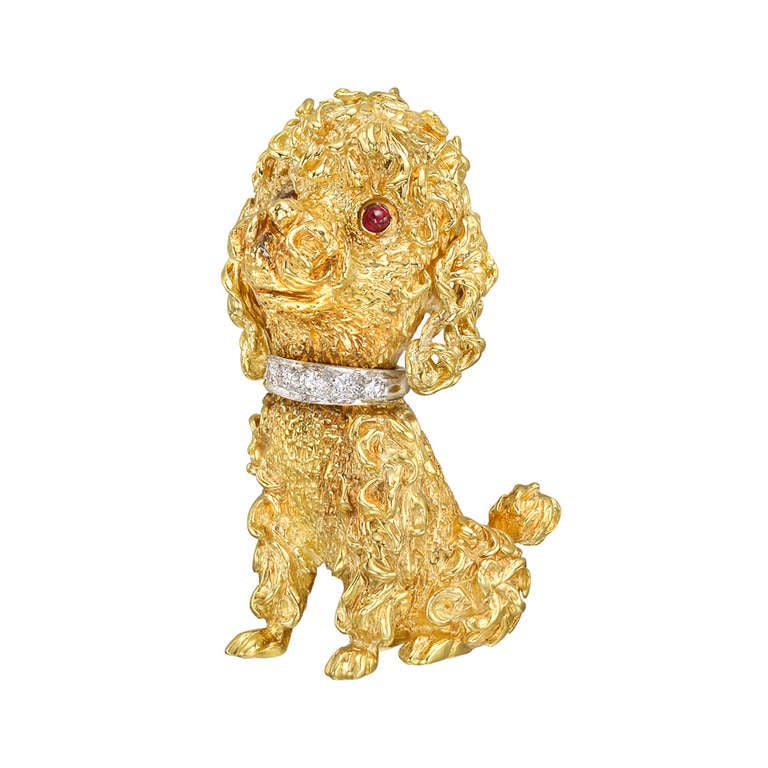 and co gold poodle pendant brooch at 1stdibs