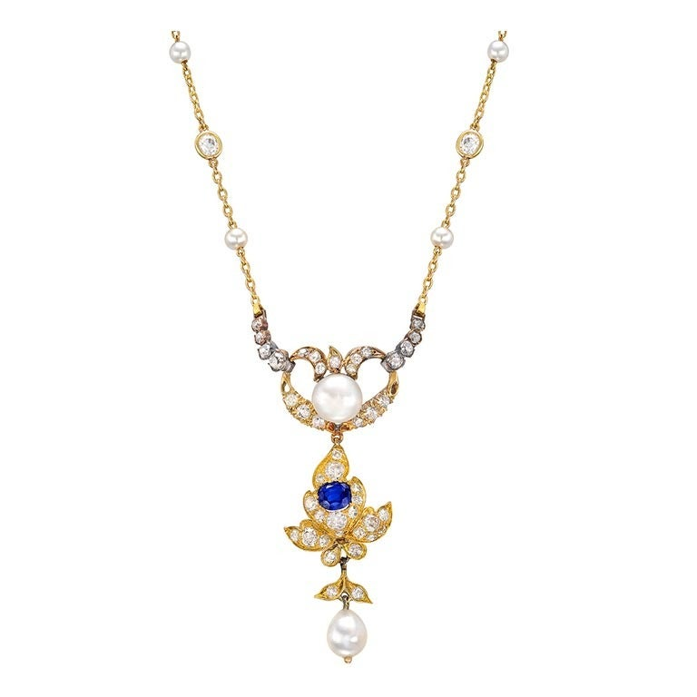 Antique Natural Pearl, Sapphire & Diamond Pendant 1