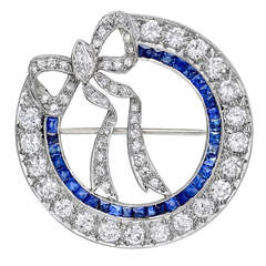 Sapphire & Diamond Circle with Bow Pin