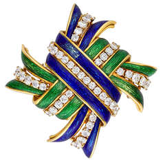 David Webb Enamel & Diamond Knot Brooch