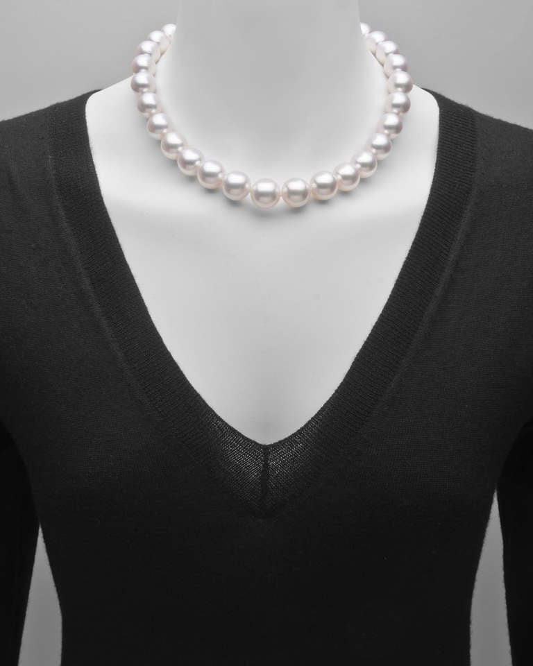 South Sea Pearl Necklace with Pavé Diamond Clasp 2