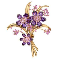"Van Cleef & Arpels Amethyst & Pink Sapphire ""Hawaii Bouquet"" Brooch"