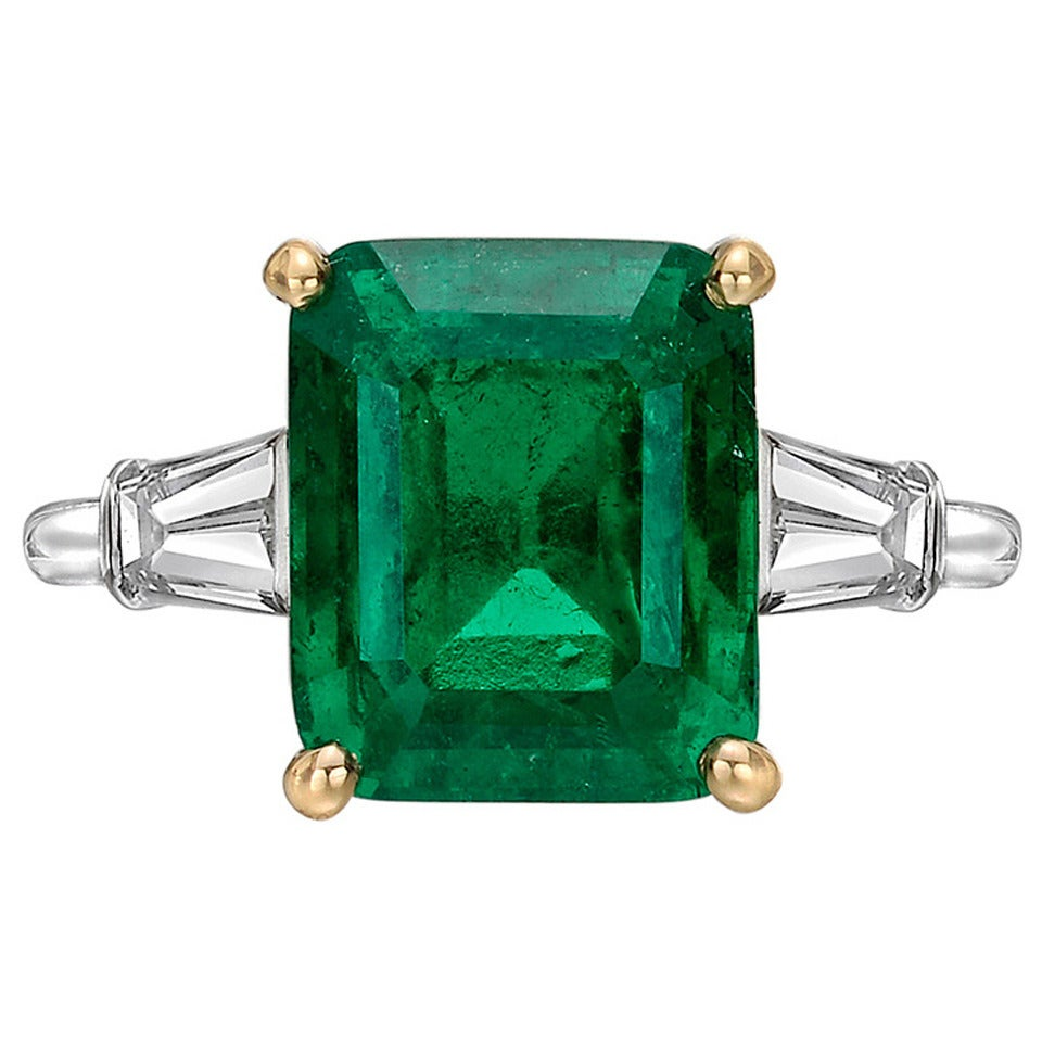 Cartier 4 99 Carat Colombian Emerald Diamond Ring For Sale
