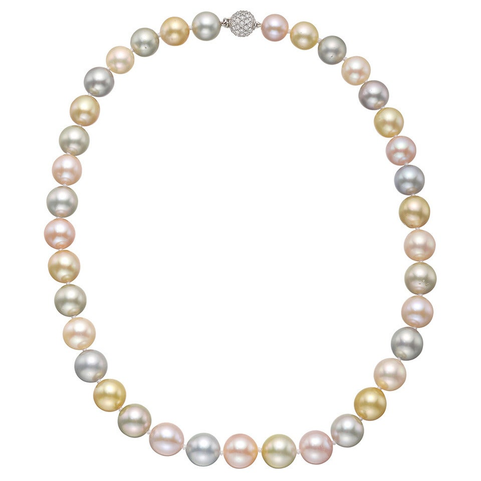 multicolored tahitian pearl necklace with pav 233