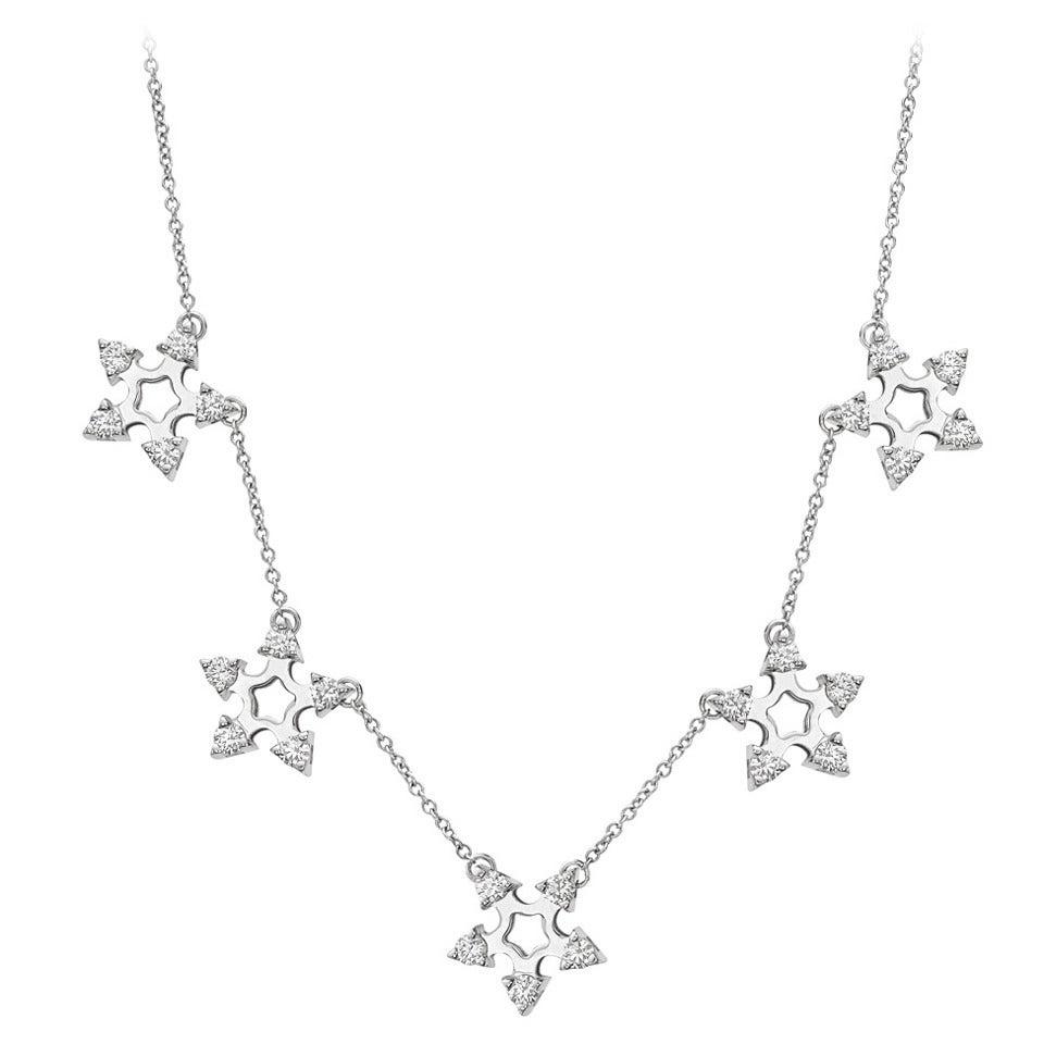 Garavelli Diamond Snowflake Station Necklace For Sale