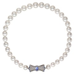 South Sea Pearl Necklace with Gem-Set Bow Clasp