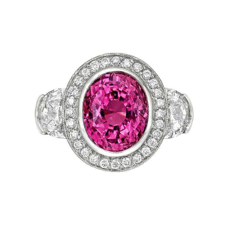 5.02 Carat Pink Sapphire & Diamond Ring 2