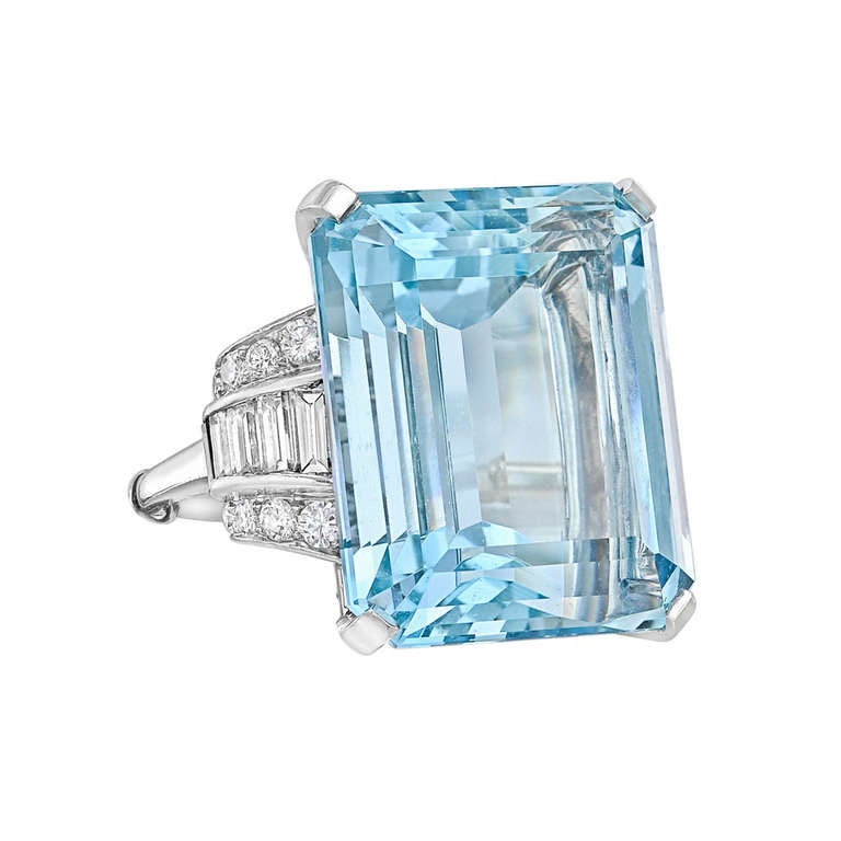 Emerald Cut Aquamarine And Diamond Ring At 1stdibs