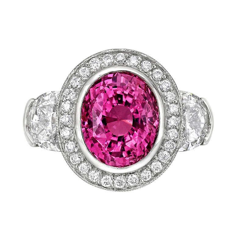 5.02 Carat Pink Sapphire & Diamond Ring 1