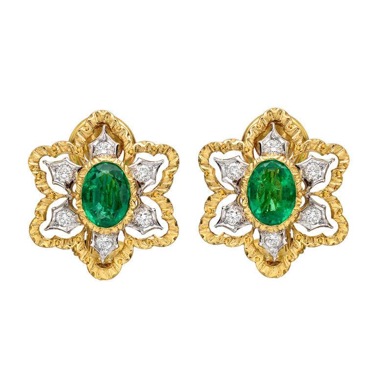 Buccellati Emerald And Diamond Foliate Earclips At 1stdibs