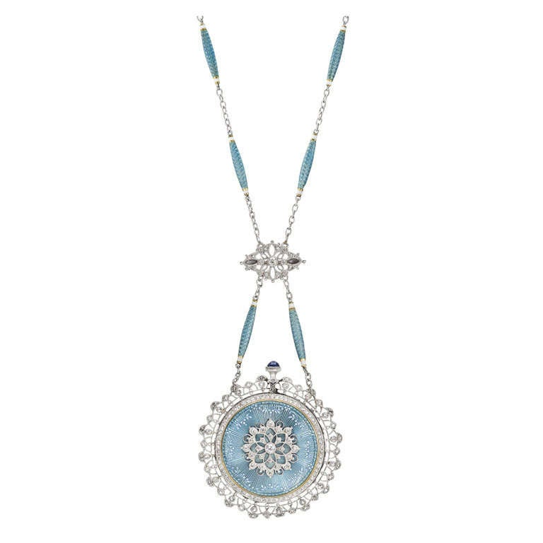 Tiffany & Co. Yellow Gold, Platinum, Enamel and Diamond Pendant Watch on Chain