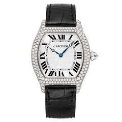 Cartier White Gold and Diamond Tortue Wristwatch