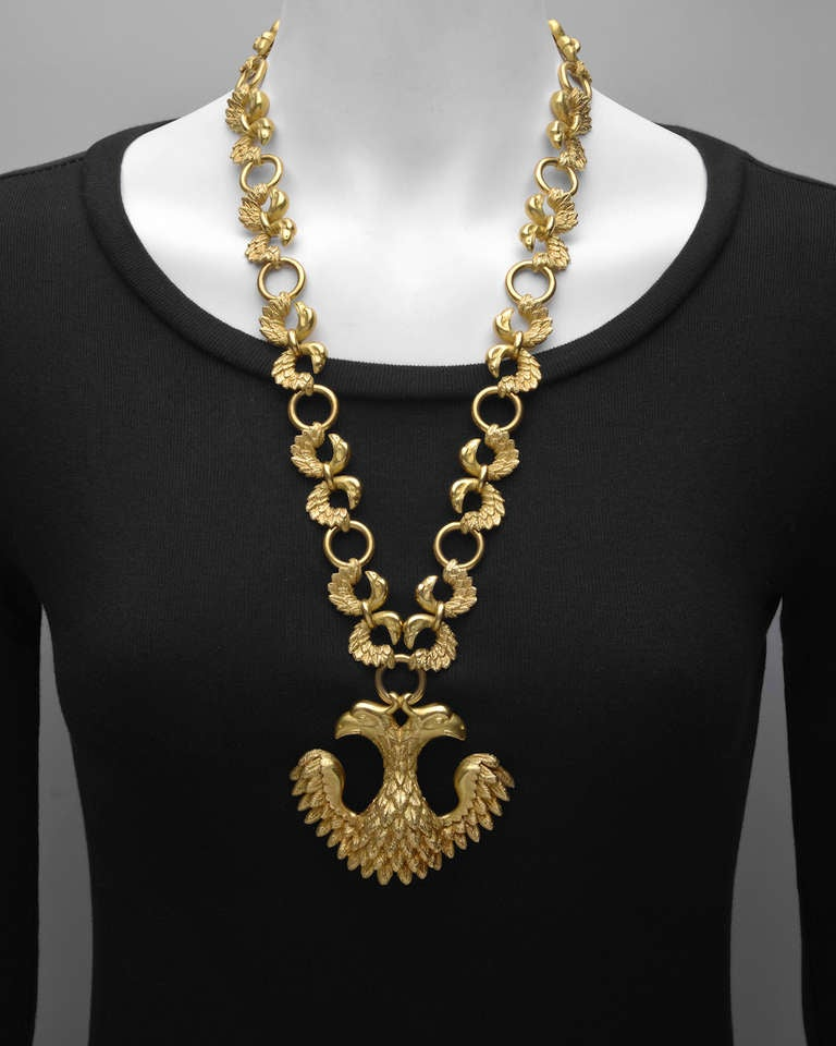 cleef and arpels gold eagle pendant chain