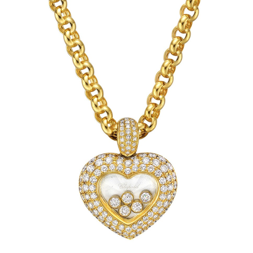 chopard happy diamonds gold pendant necklace at 1stdibs