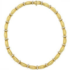 Tiffany Diamond Gold Link Collar Necklace