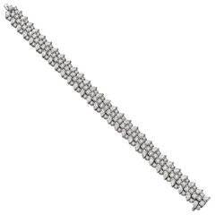 Three-Row Diamond Bombe Platinum Link Bracelet