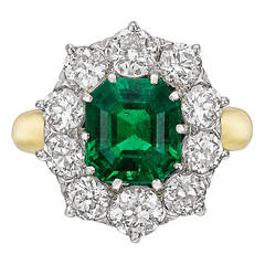 Colombian Emerald Diamond Cluster Ring