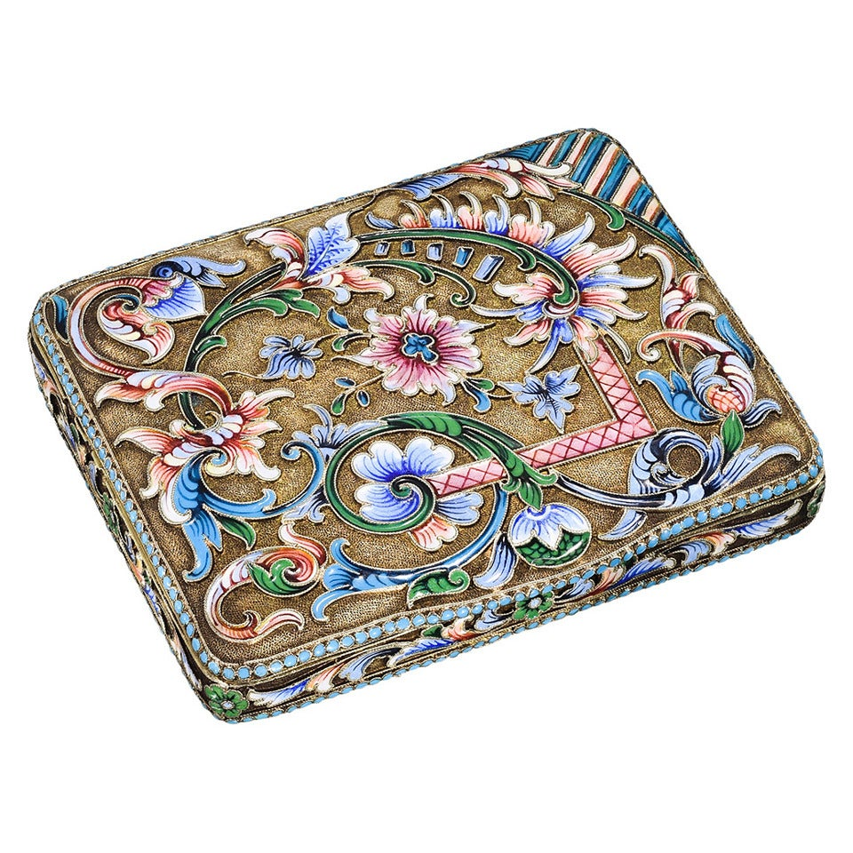 Antique Russian Enamel Silver Gilt Cigarette Case At 1stdibs