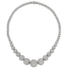 Odelia Pavé Diamond Ball Bead Necklace (~46.5 ct tw)