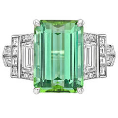 Raymond C. Yard 6.12 Carat Mint Tourmaline Diamond Ring