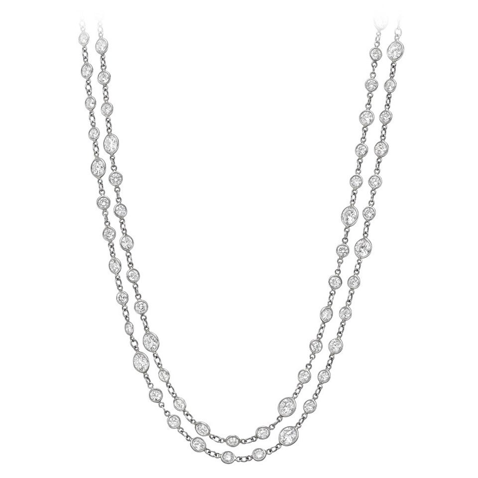 Diamond Platinum Long Chain Necklace At 1stdibs
