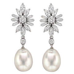 Pearl Diamond Platinum Cluster Pendant Earrings