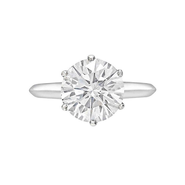 Tiffany and Co 3 02 Carat Round Brilliant Diamond Engagement Ring at 1stdibs