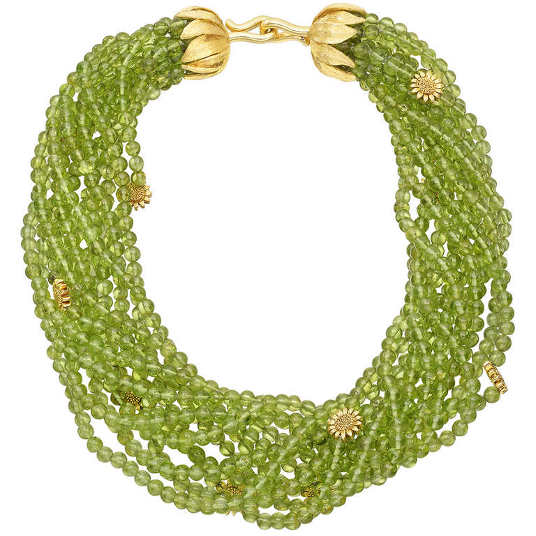 Bielka Peridot Bead  Gold Sunflower Necklace 1