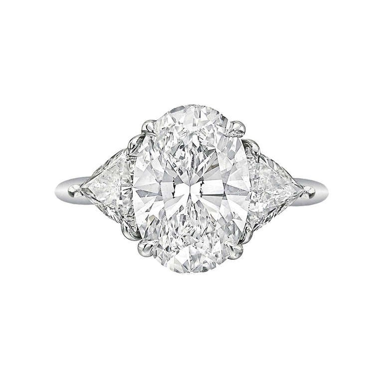 Tiffany and Co 3 09 Carat Oval Cut Diamond Engagement Ring at 1stdibs