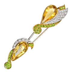 Gem-Set Jabot Pin